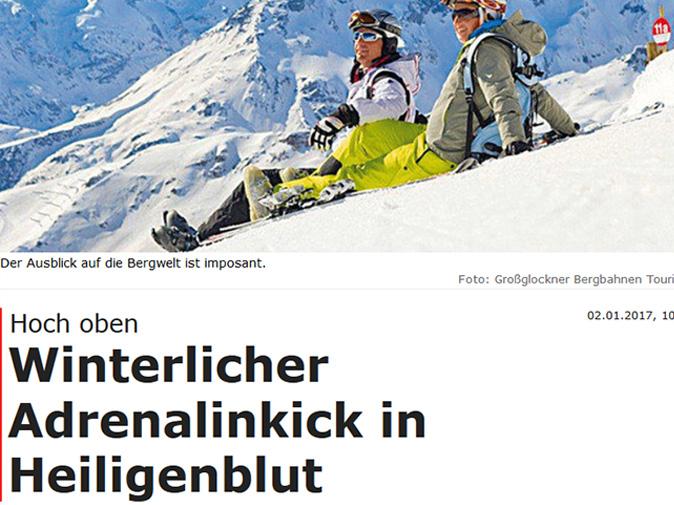 Winterlicher Adrenalinkick in Heiligenblut | Reportage in der Kronenzeitung