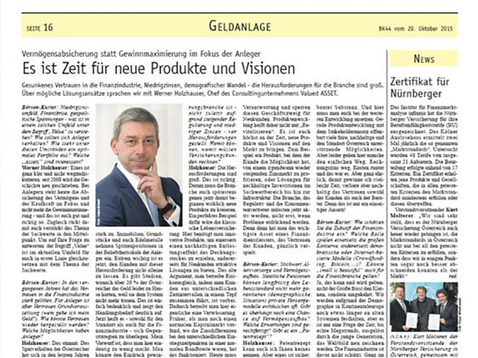 Valued ASSET: GF Holzhauser im Gespräch mit dem Börsenkurier